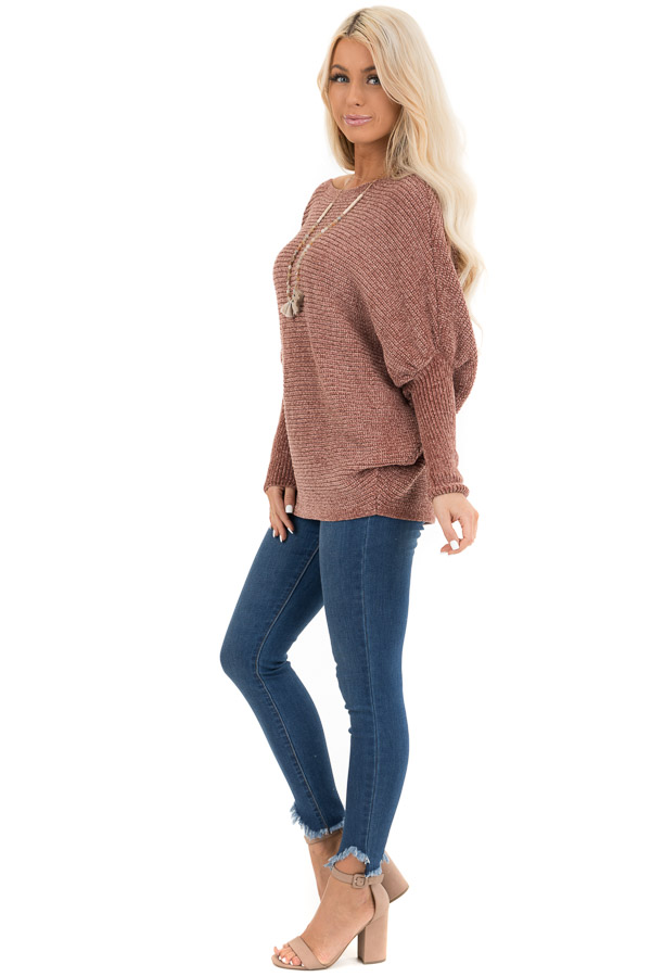 Faded Terra Cotta Chenille Sweater Top with Dolman Sleeves side full body