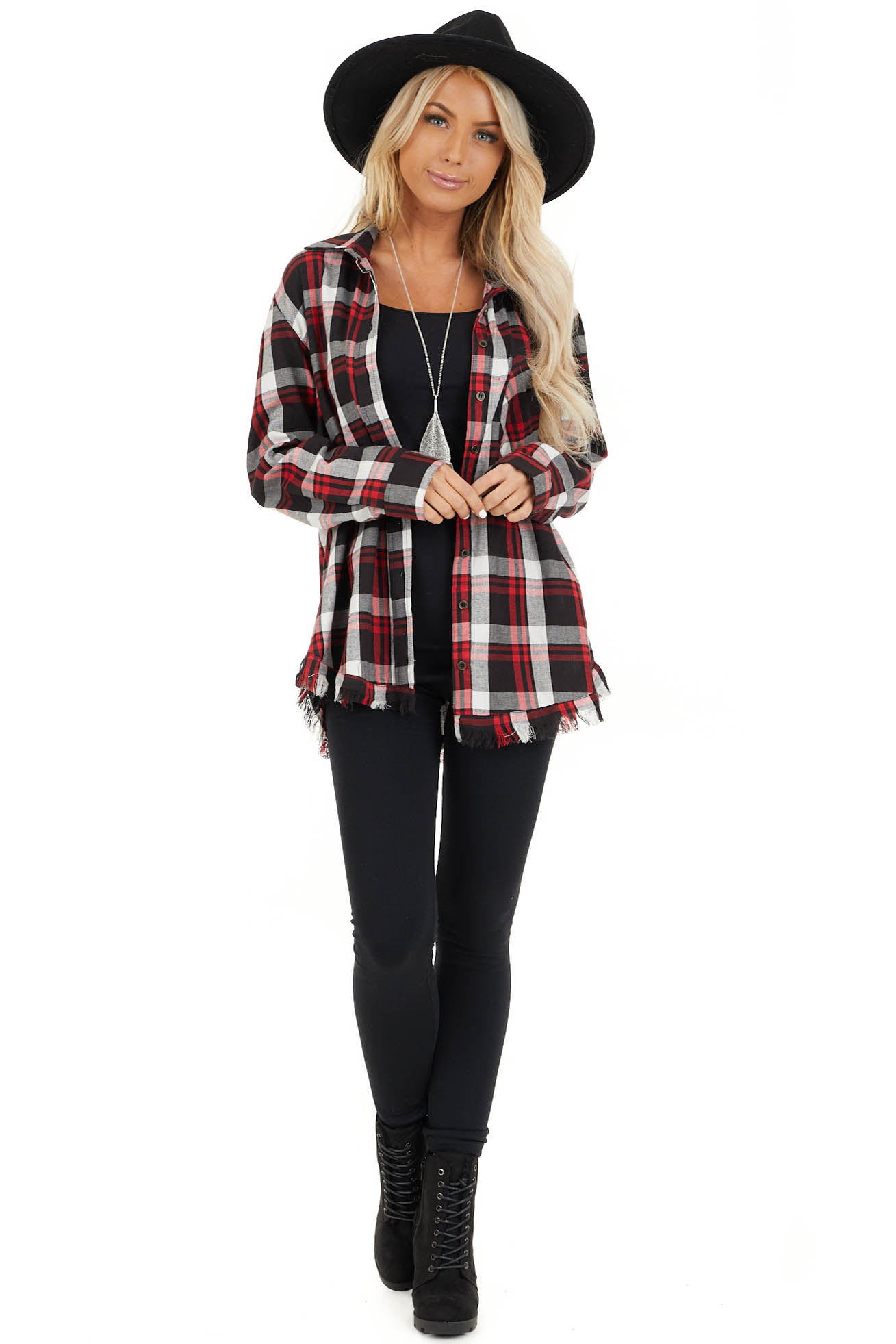 Cherry Red and Black Plaid Button Up Top with Frayed Hem front full body