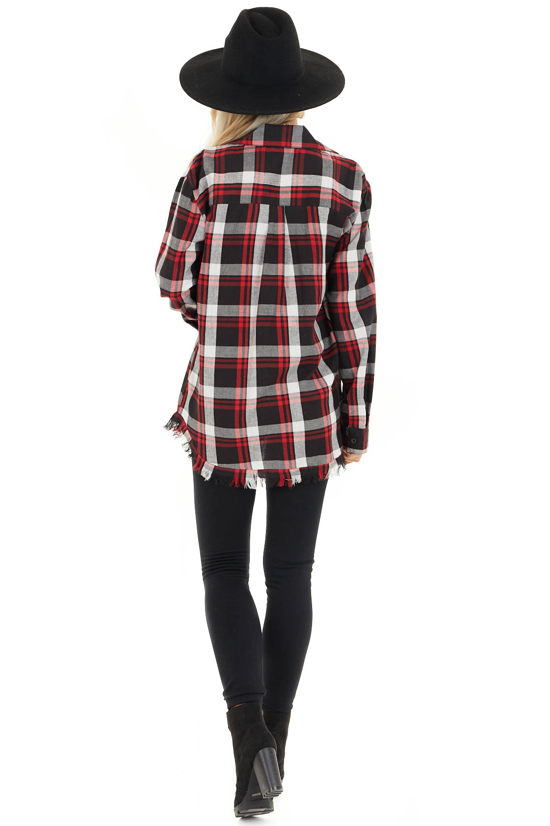 Cherry Red and Black Plaid Button Up Top with Frayed Hem back full body