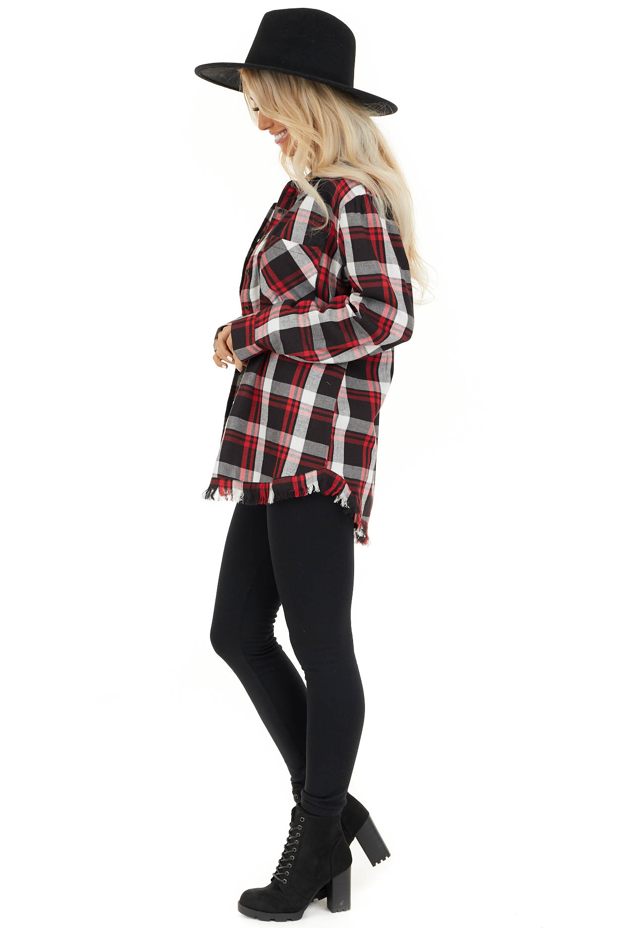 Cherry Red and Black Plaid Button Up Top with Frayed Hem side full body
