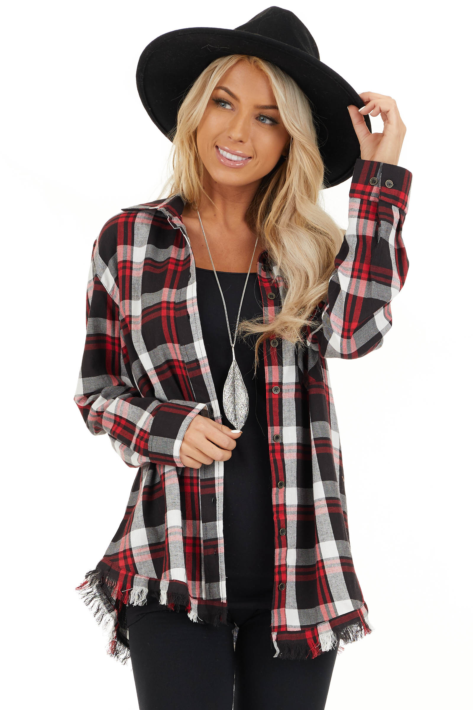 Cherry Red and Black Plaid Button Up Top with Frayed Hem front close up