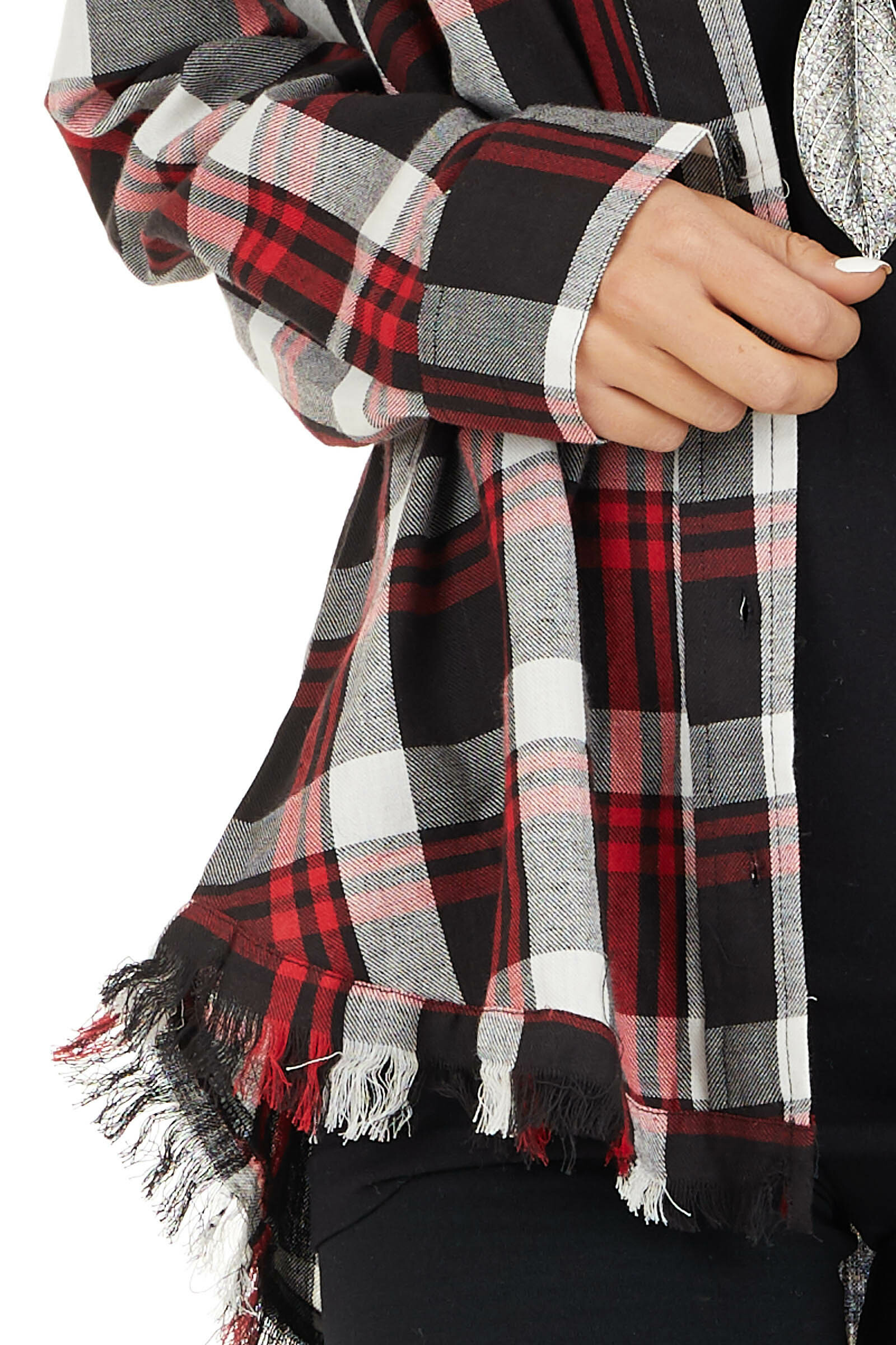 Cherry Red and Black Plaid Button Up Top with Frayed Hem detail