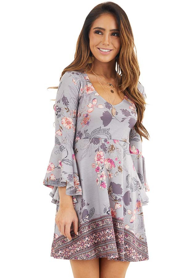 Heather Grey Floral Print Mini Dress with Bell Sleeves front close up