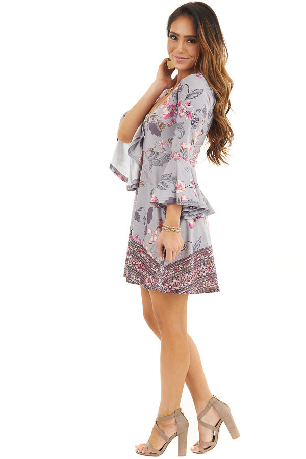 Heather Grey Floral Print Mini Dress with Bell Sleeves side full body
