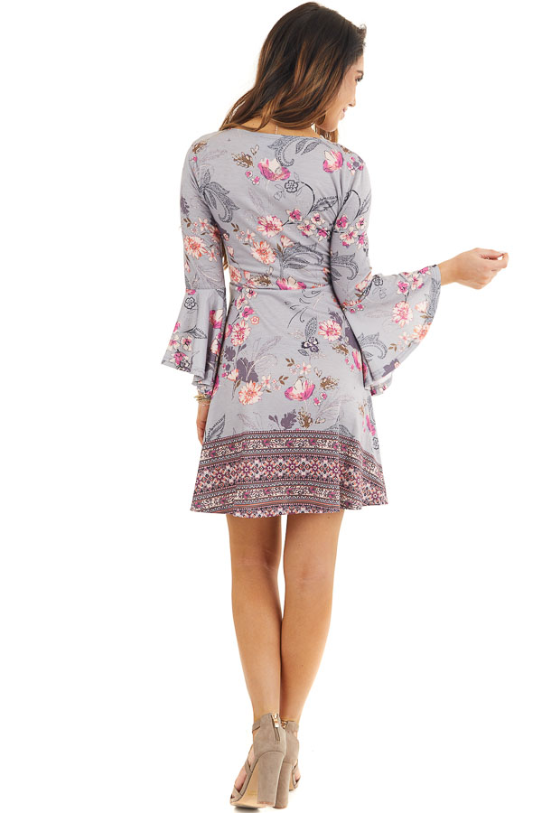 Heather Grey Floral Print Mini Dress with Bell Sleeves back full body