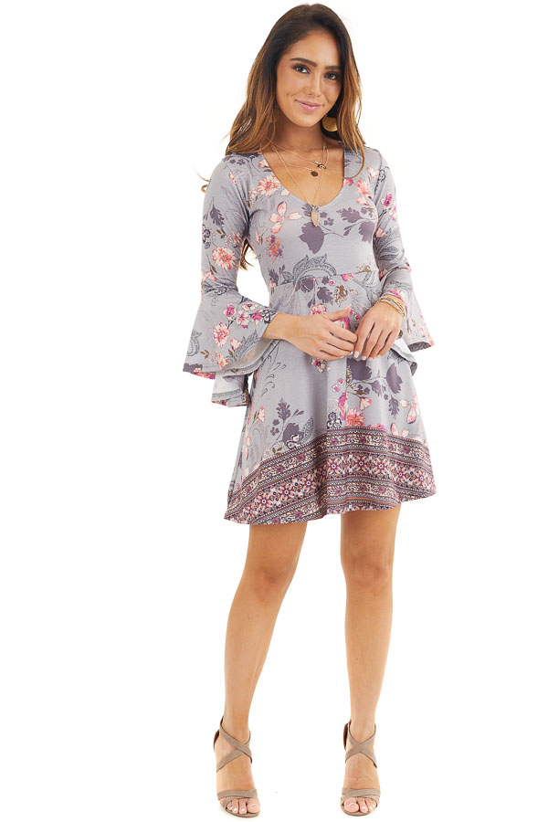 Heather Grey Floral Print Mini Dress with Bell Sleeves front full body