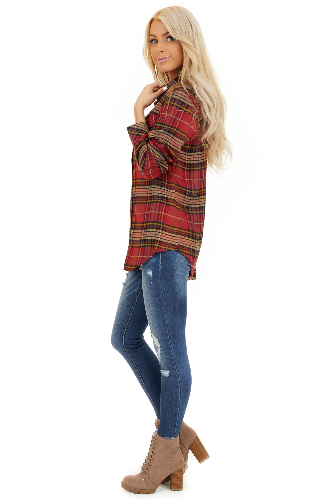Candy Apple Red Plaid Button Up Top with Chest Pocket side full body