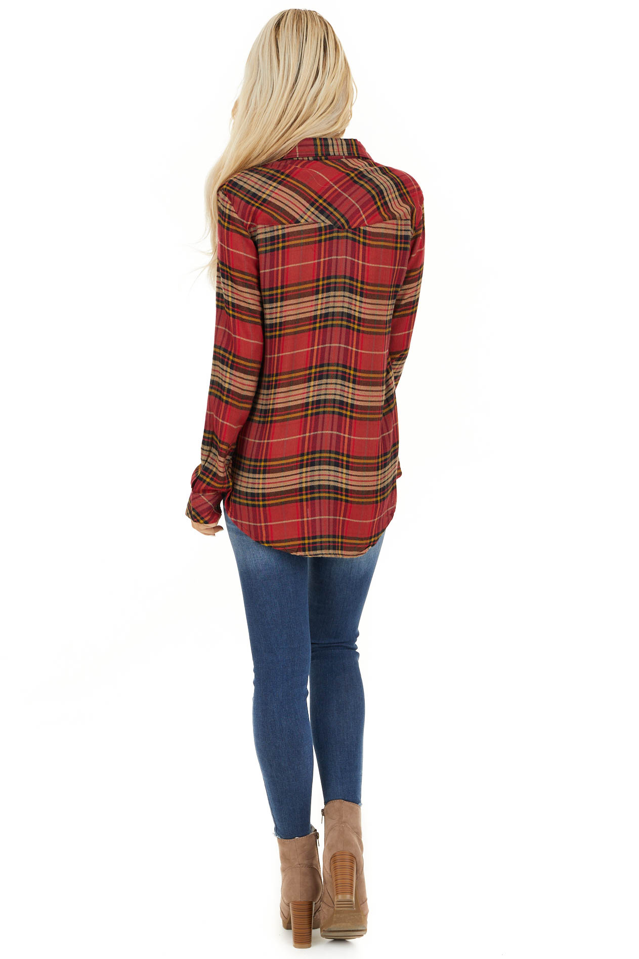 Candy Apple Red Plaid Button Up Top with Chest Pocket back full body