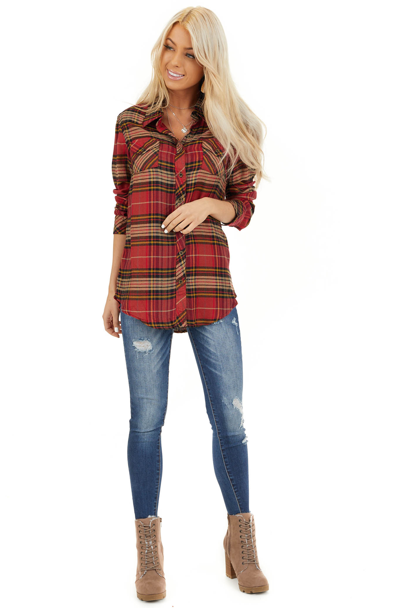 Candy Apple Red Plaid Button Up Top with Chest Pocket front full body