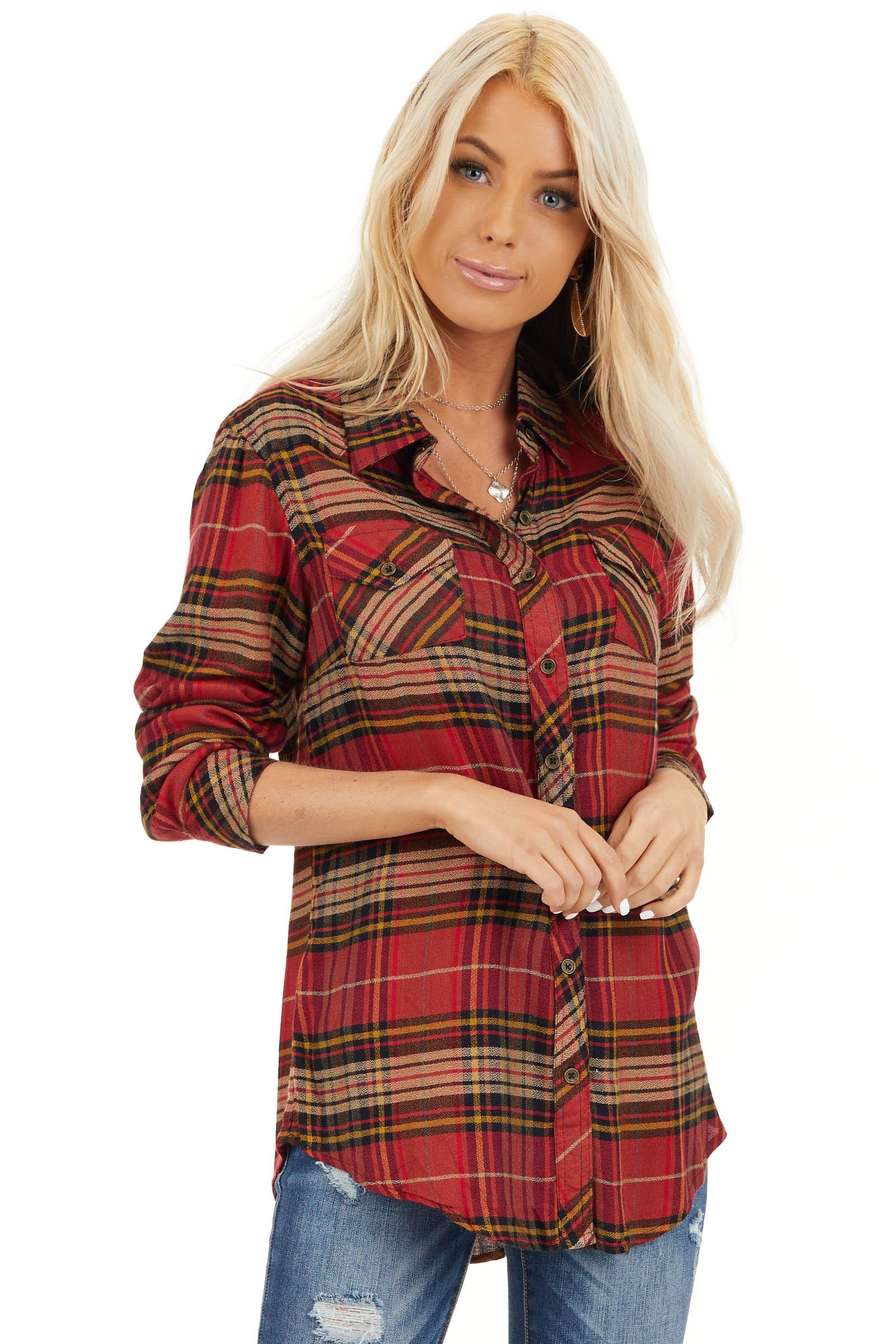 Candy Apple Red Plaid Button Up Top with Chest Pocket front close up