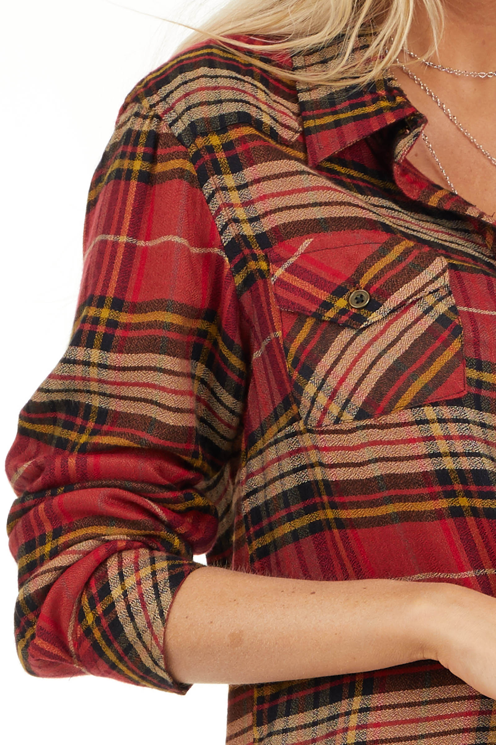 Candy Apple Red Plaid Button Up Top with Chest Pocket detail