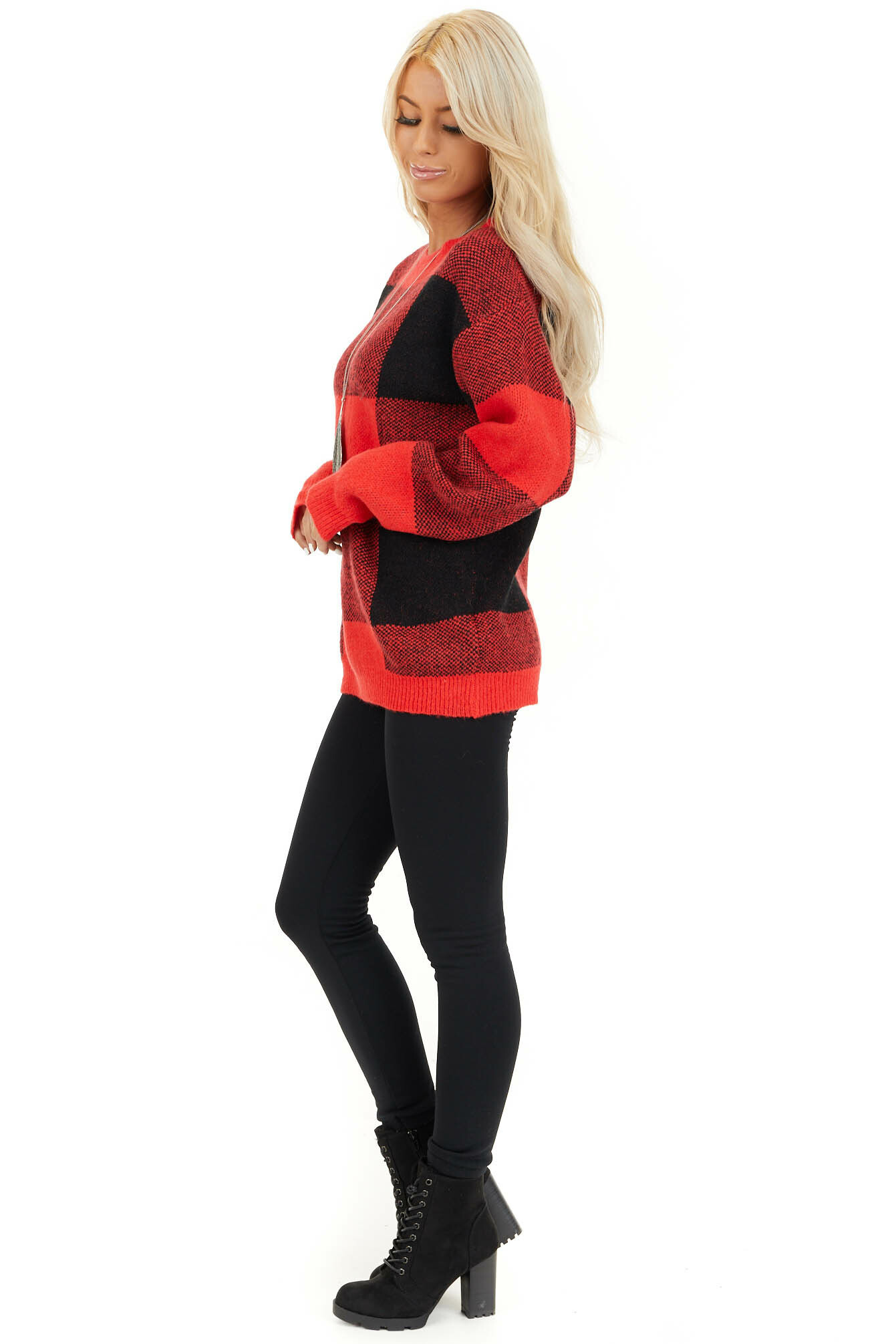 Bright Red and Black Buffalo Plaid Oversized Sweater side full body