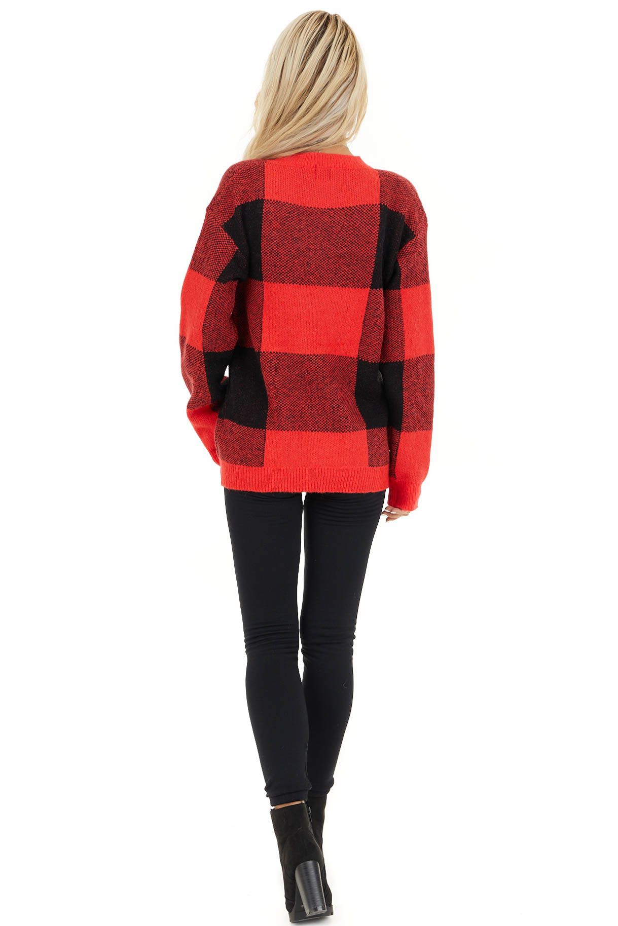 Bright Red and Black Buffalo Plaid Oversized Sweater back full body