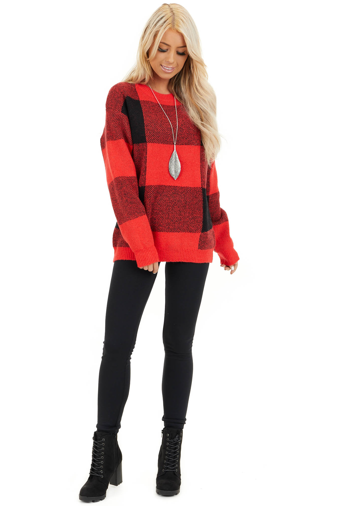 Bright Red and Black Buffalo Plaid Oversized Sweater front full body