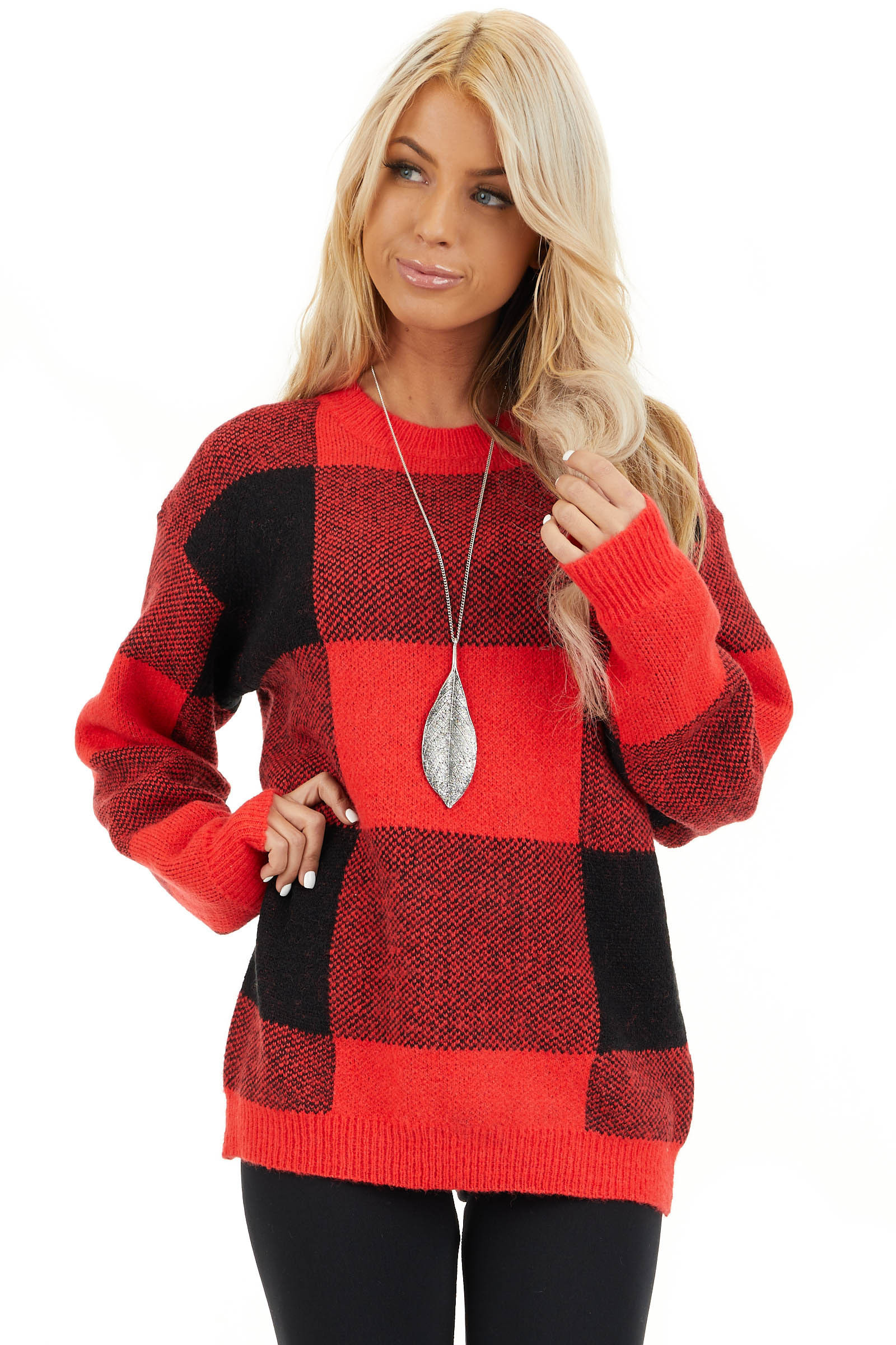 Bright Red and Black Buffalo Plaid Oversized Sweater front close up