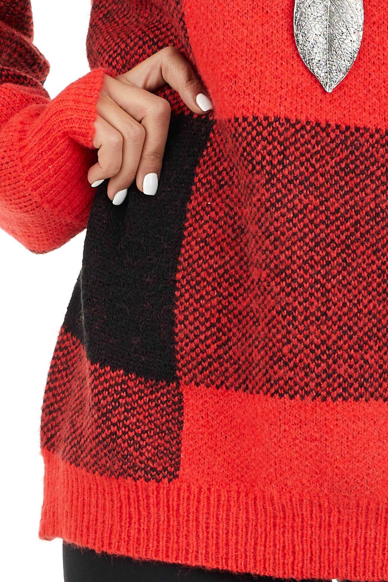 Bright Red and Black Buffalo Plaid Oversized Sweater detail