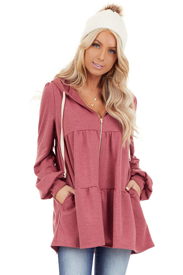 Berry Pink Zip Up Tiered Jacket with Hood and Long Sleeves front close up