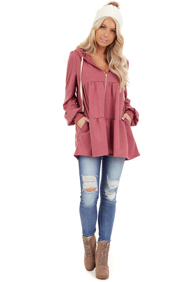Berry Pink Zip Up Tiered Jacket with Hood and Long Sleeves front full body