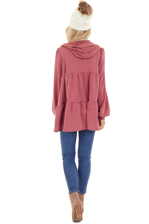Berry Pink Zip Up Tiered Jacket with Hood and Long Sleeves back full body