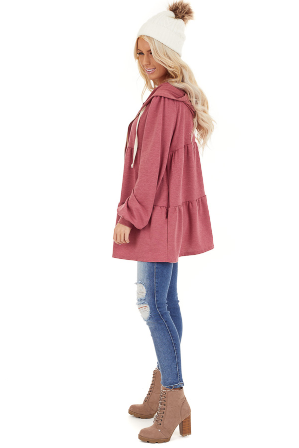 Berry Pink Zip Up Tiered Jacket with Hood and Long Sleeves side full body