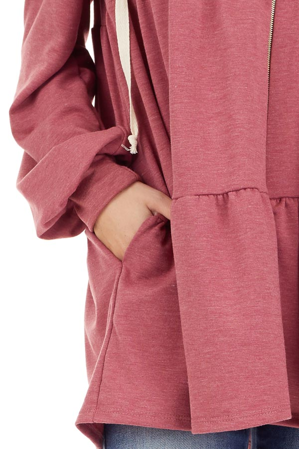 Berry Pink Zip Up Tiered Jacket with Hood and Long Sleeves detail