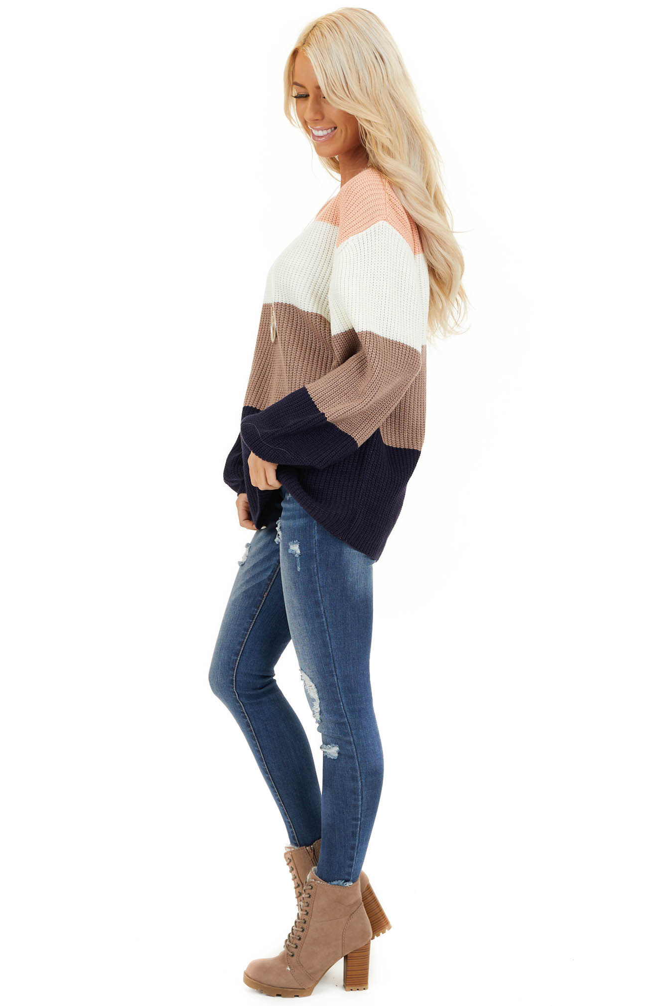 Navy and Peach Color Block Sweater with Long Sleeves side full body