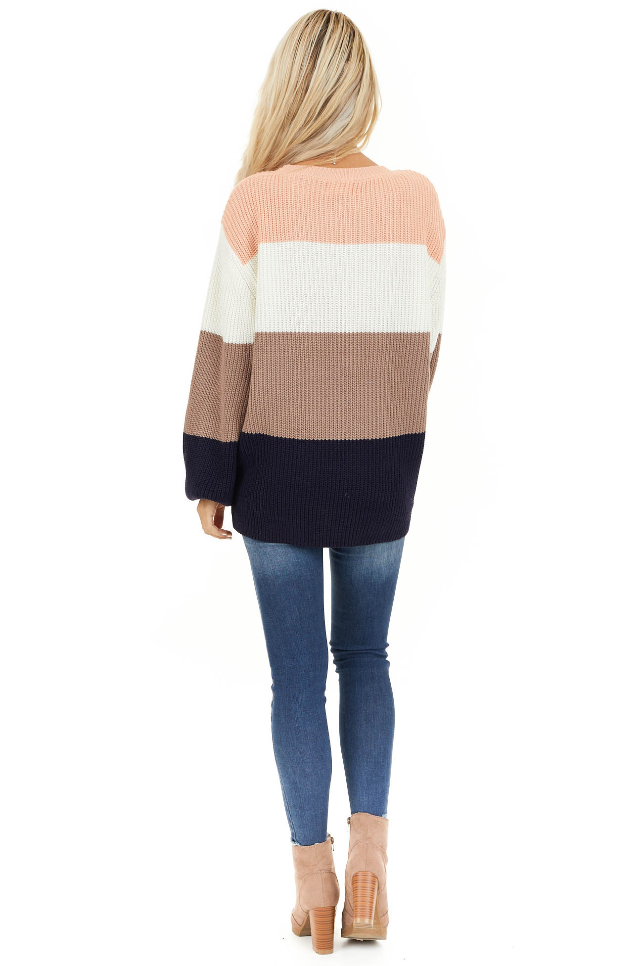 Navy and Peach Color Block Sweater with Long Sleeves back full body