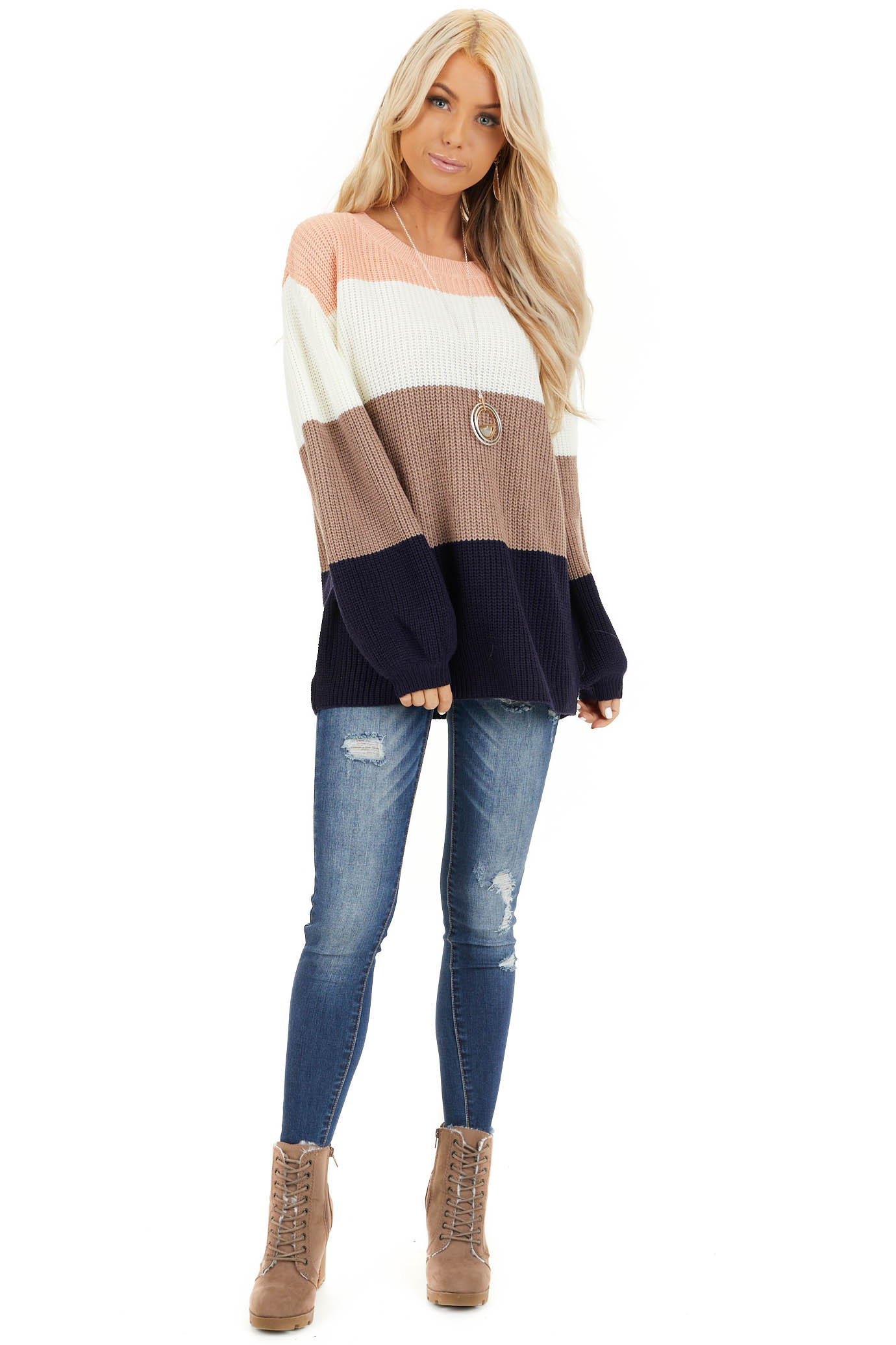 Navy and Peach Color Block Sweater with Long Sleeves front full body