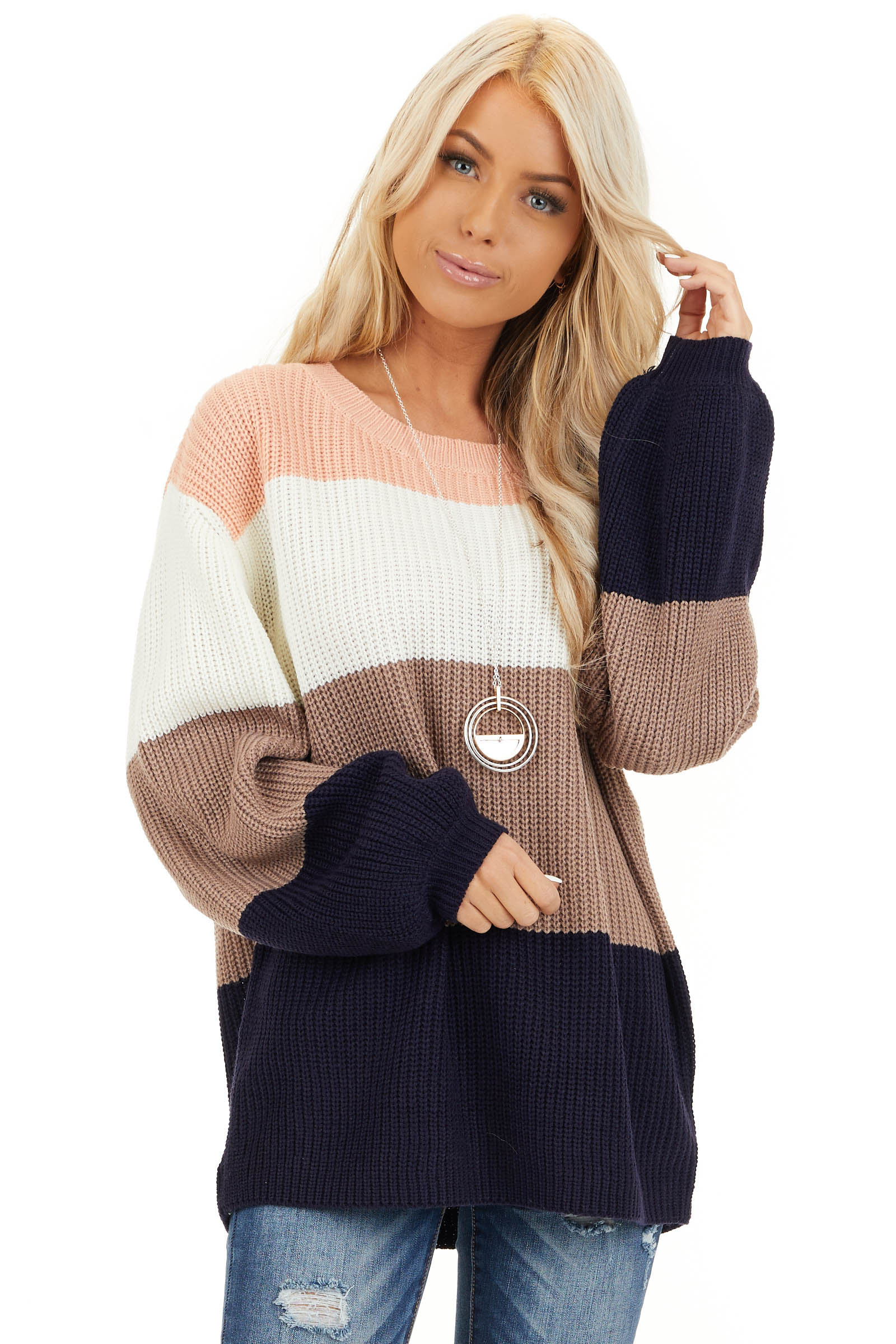 Navy and Peach Color Block Sweater with Long Sleeves front close up