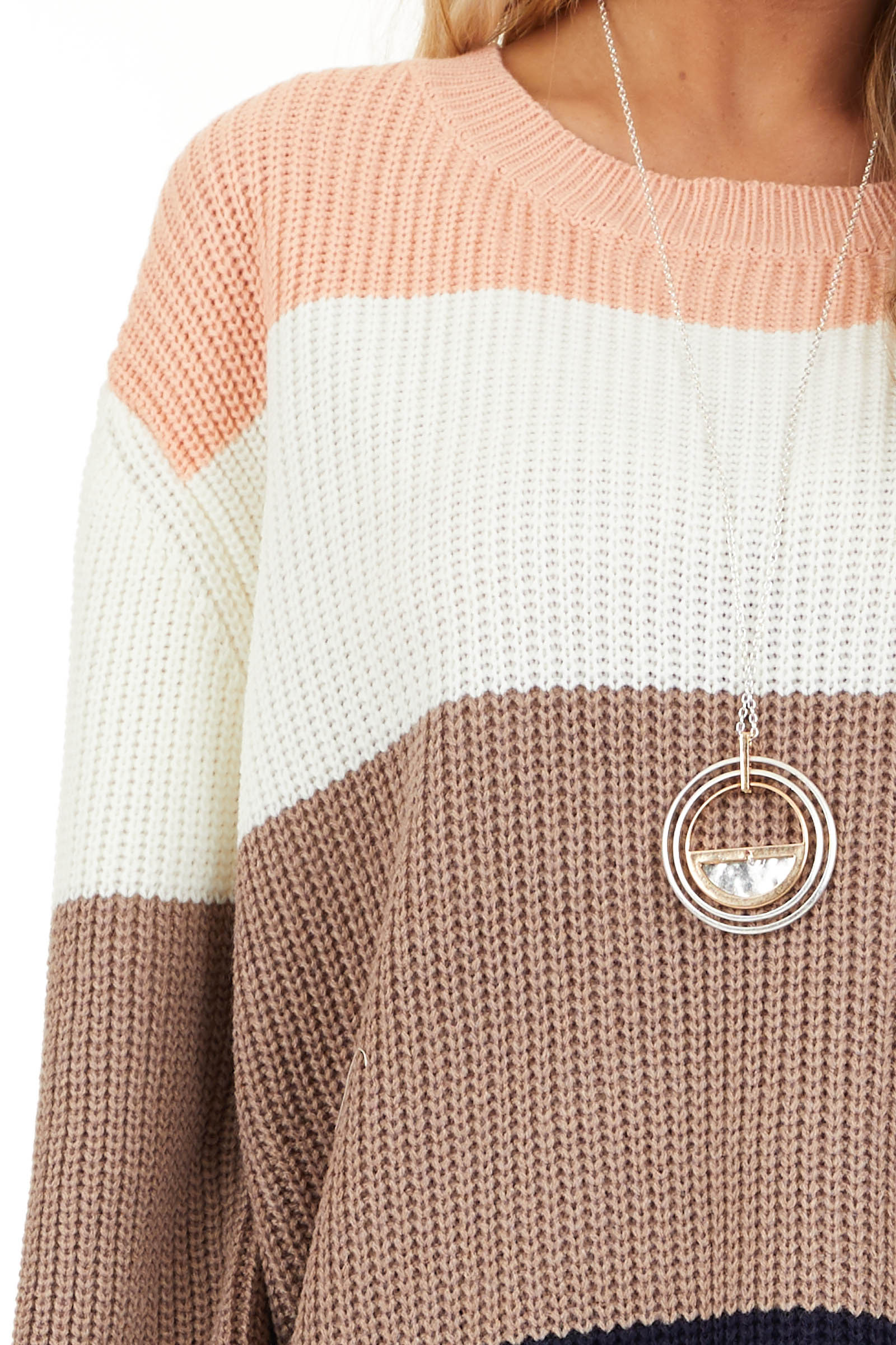 Navy and Peach Color Block Sweater with Long Sleeves detail