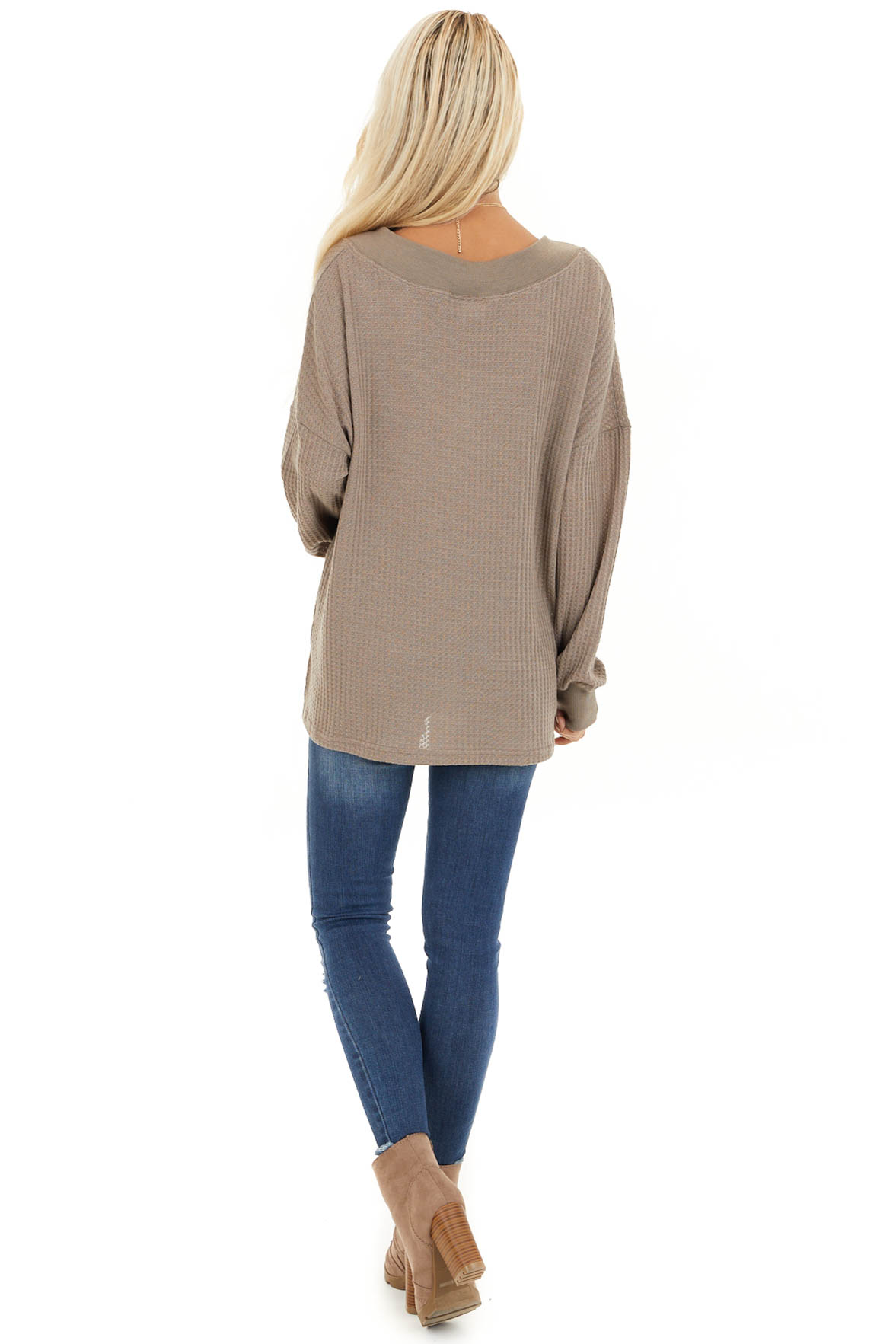Taupe Waffle Knit V Neck Top with Long Sleeves back full body