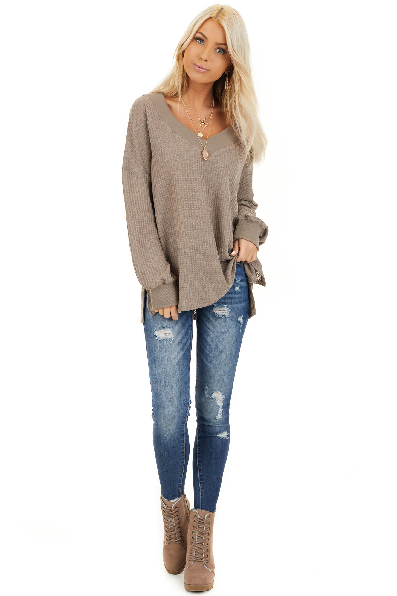 Taupe Waffle Knit V Neck Top with Long Sleeves front full body