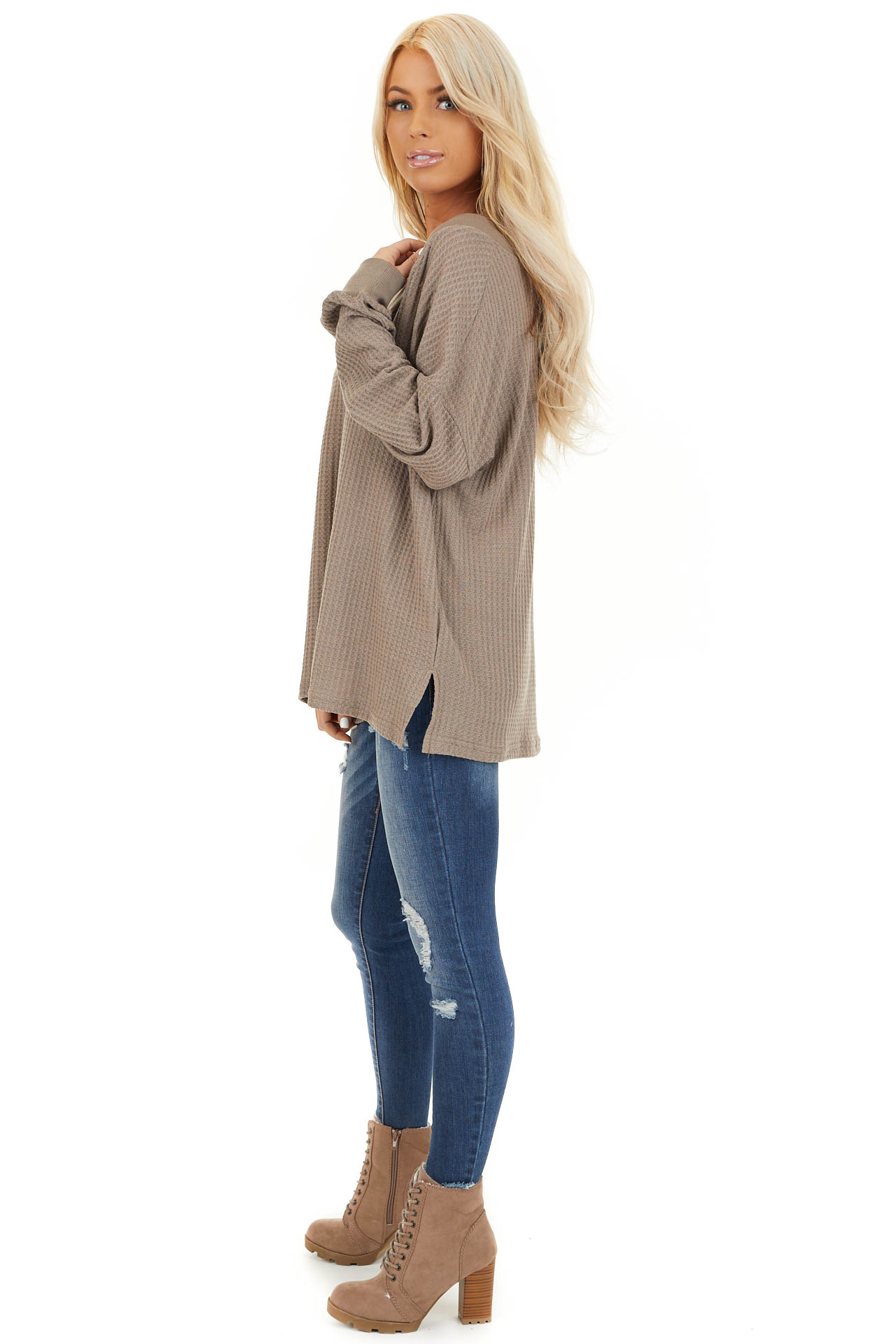 Taupe Waffle Knit V Neck Top with Long Sleeves side full body