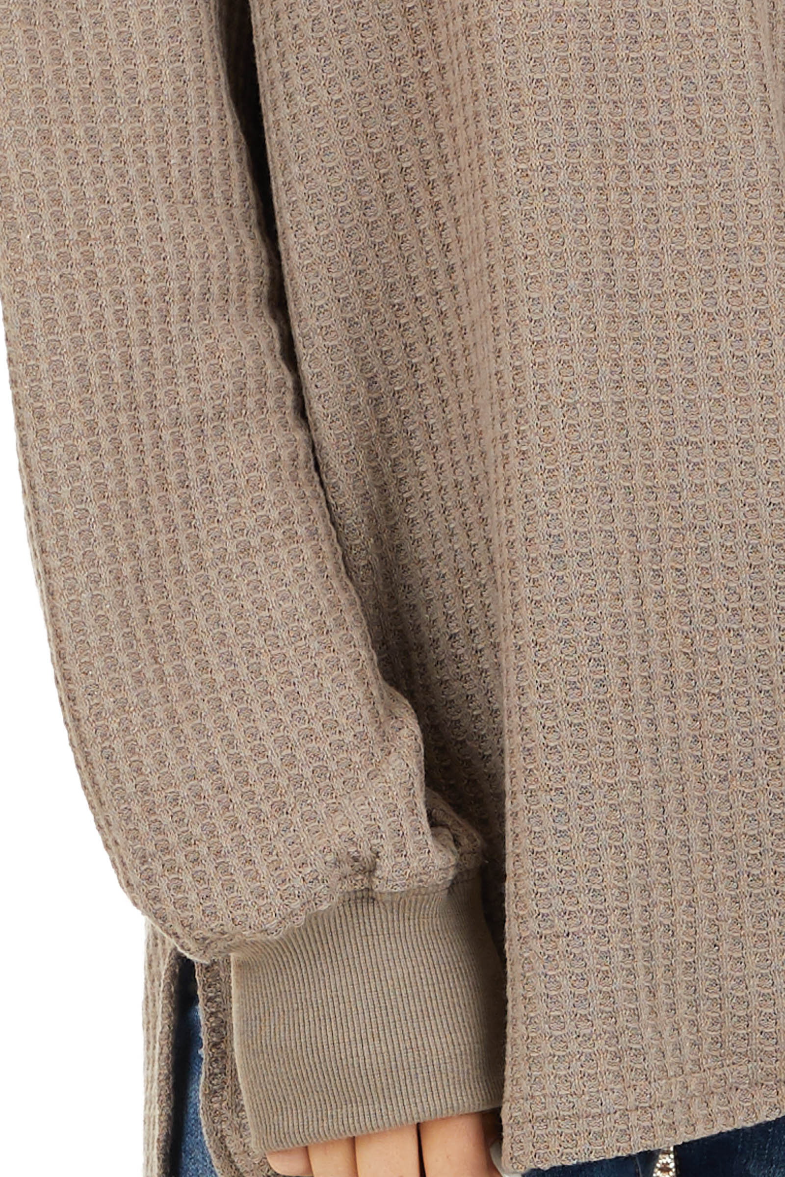 Taupe Waffle Knit V Neck Top with Long Sleeves detail