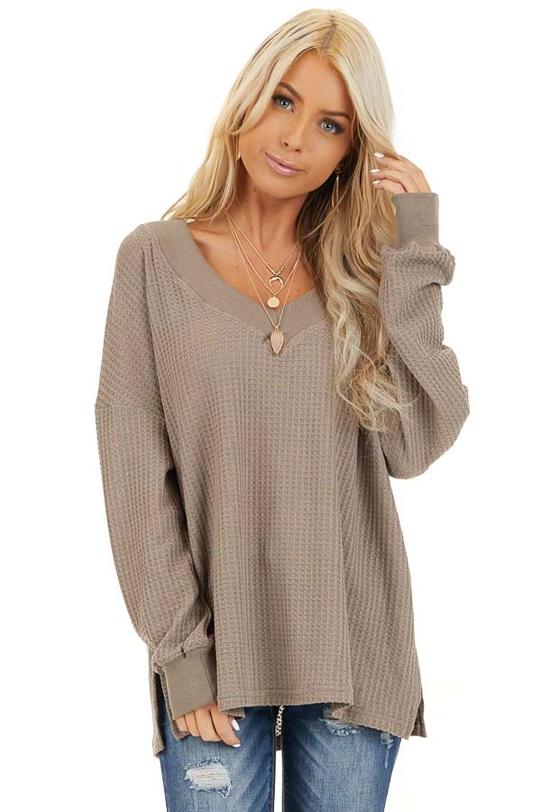Taupe Waffle Knit V Neck Top with Long Sleeves front close up