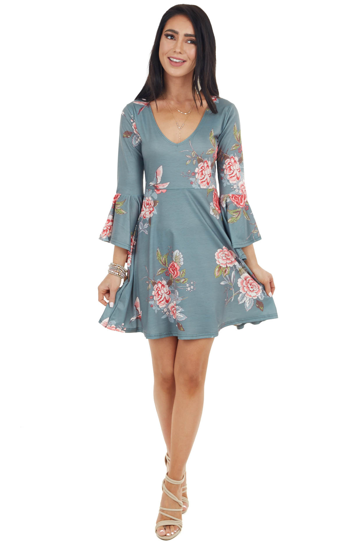 Faded Sage Floral Print Mini Dress with Bell Sleeves