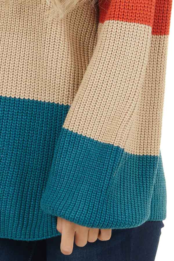 Burnt Orange and Teal Color Block Sweater with Long Sleeves