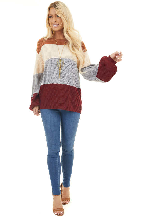 Wine and Dusty Blue Color Block Sweater with Long Sleeves