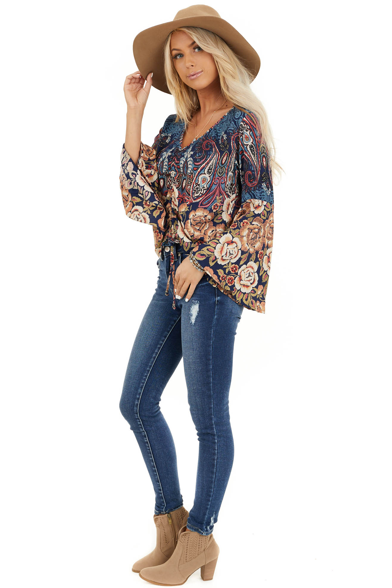 Navy and Taupe Multi Print Top with Cinched Front Detail side full body