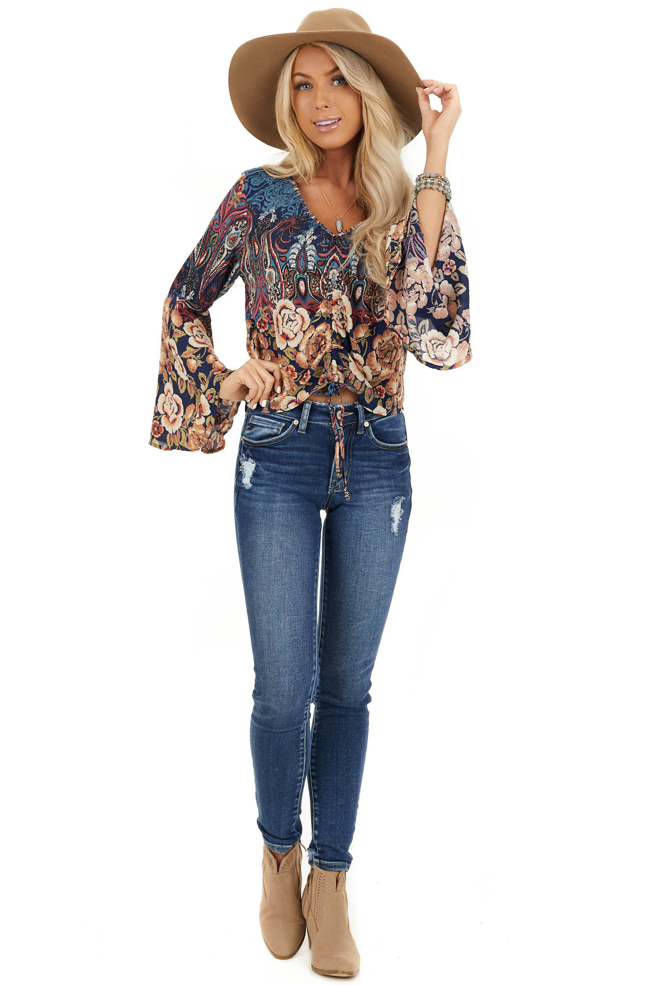 Navy and Taupe Multi Print Top with Cinched Front Detail front full body