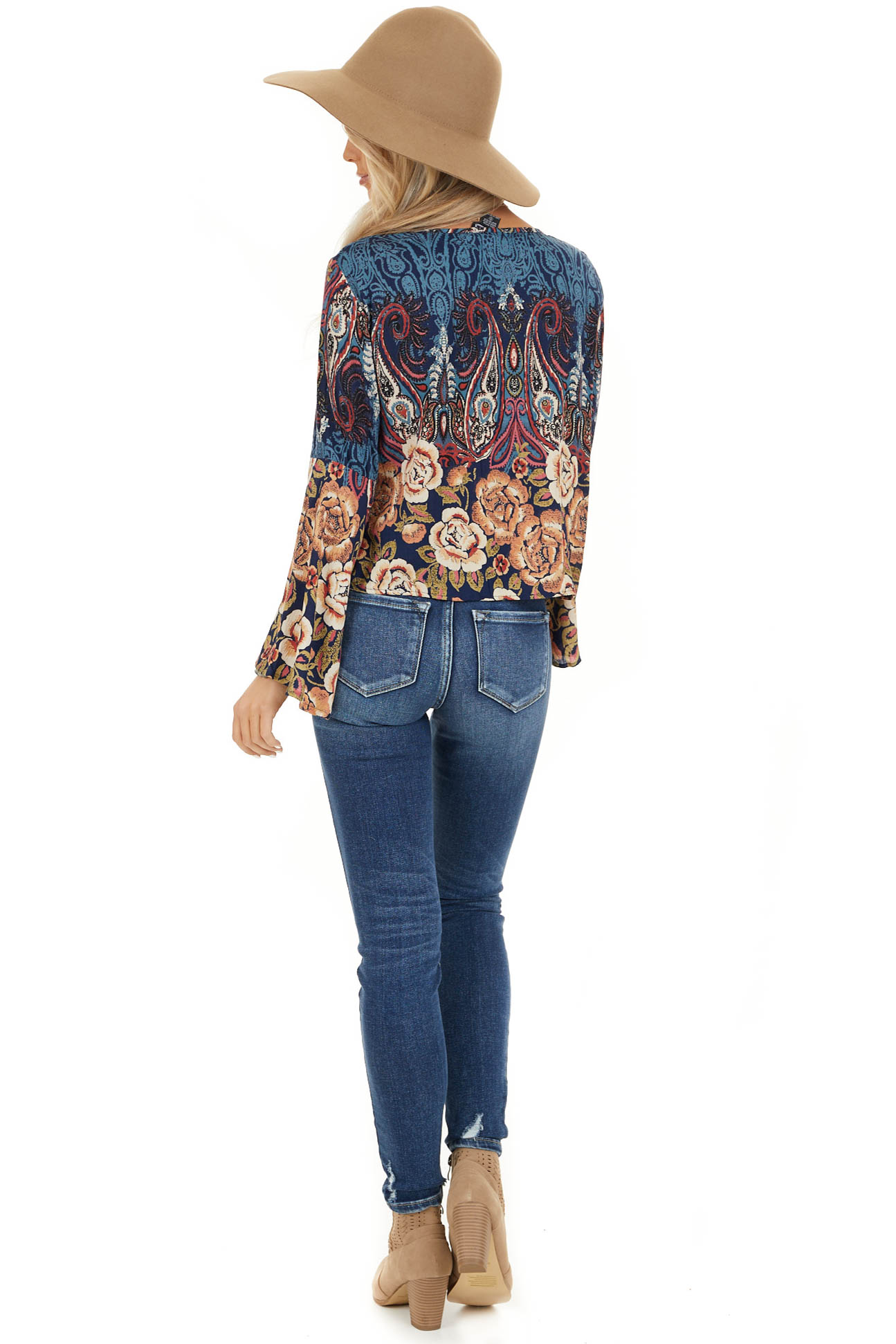 Navy and Taupe Multi Print Top with Cinched Front Detail back full body