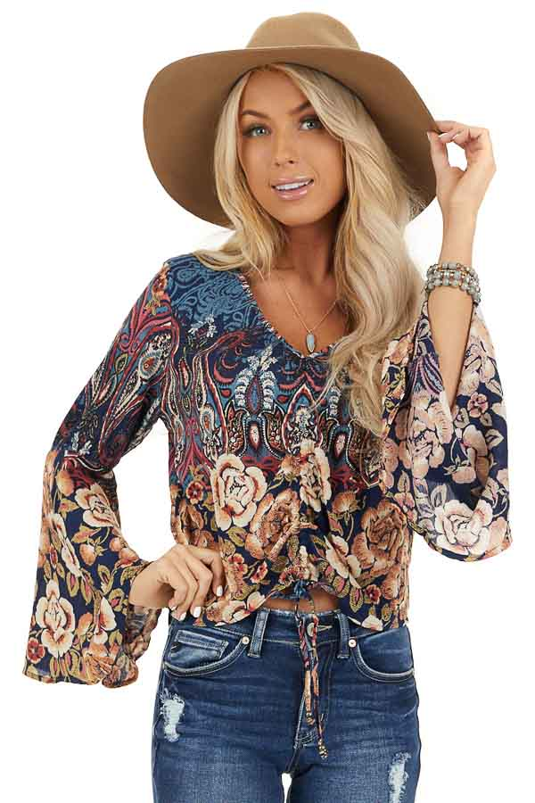 Navy and Taupe Multi Print Top with Cinched Front Detail front close up
