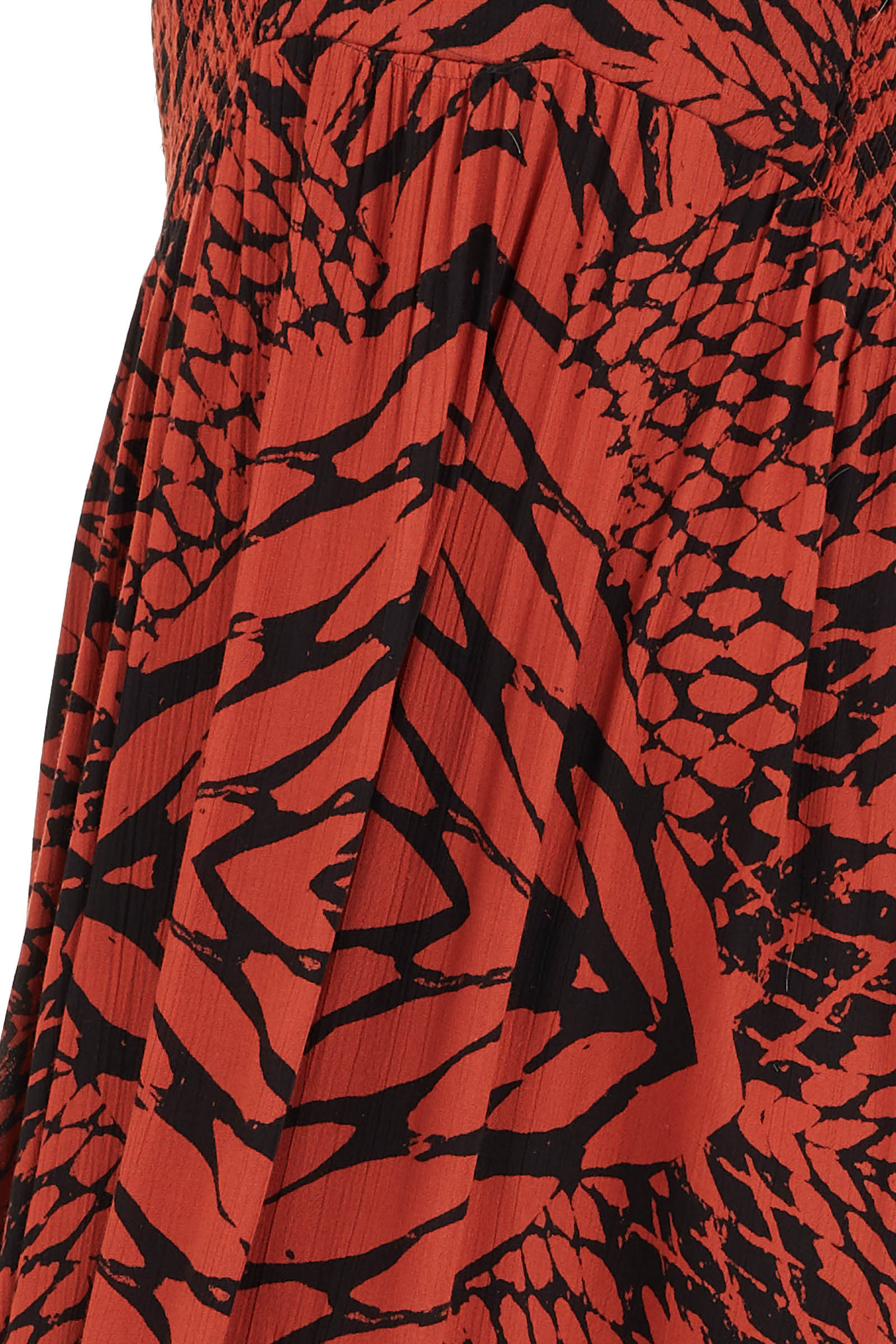 Brick Red and Black Printed Smocked Maxi Dress detail