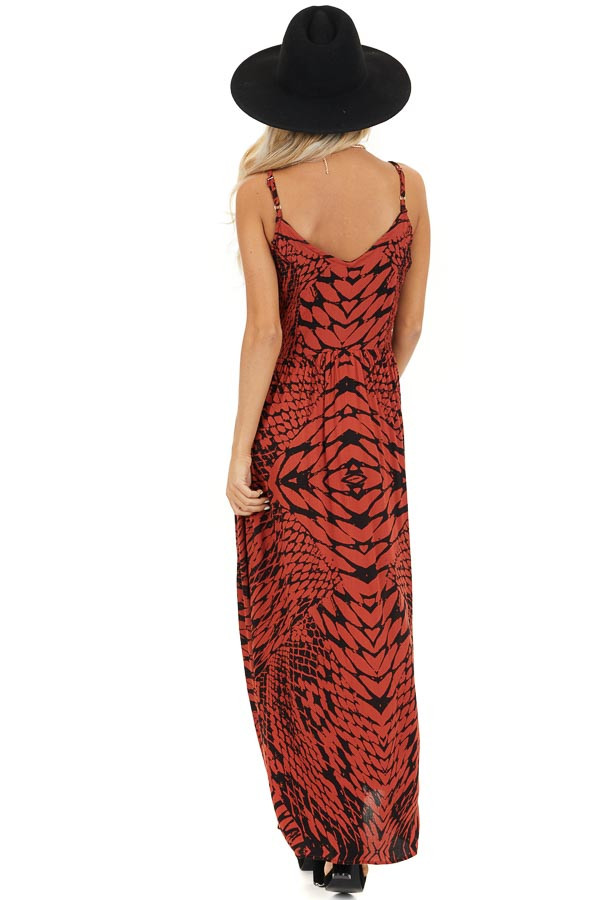 Brick Red and Black Printed Smocked Maxi Dress back full body