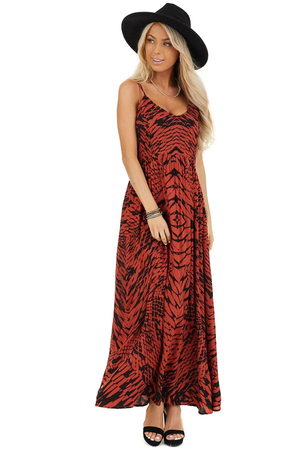 Brick Red and Black Printed Smocked Maxi Dress front full body