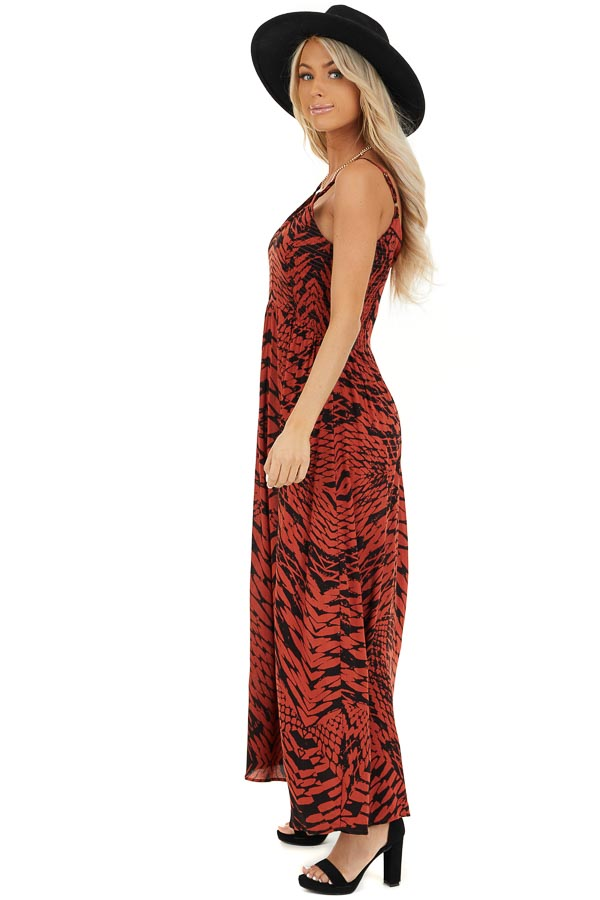 Brick Red and Black Printed Smocked Maxi Dress side full body