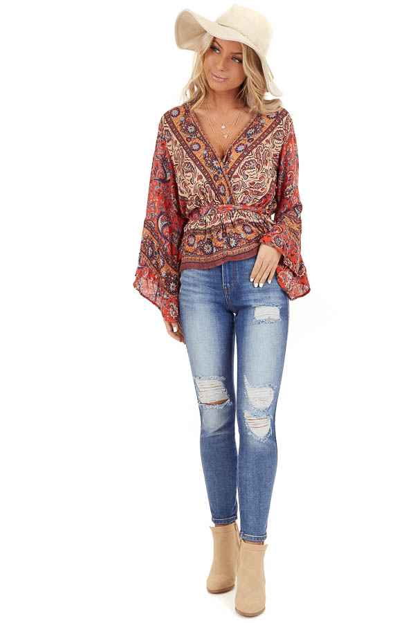Burnt Orange Floral Print Surplice Top with Ruffle Details front full body