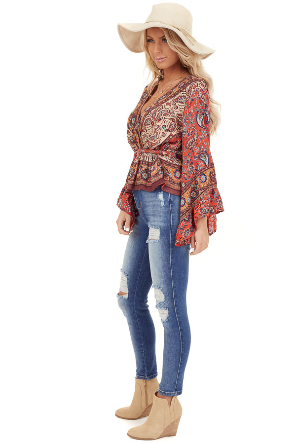 Burnt Orange Floral Print Surplice Top with Ruffle Details side full body