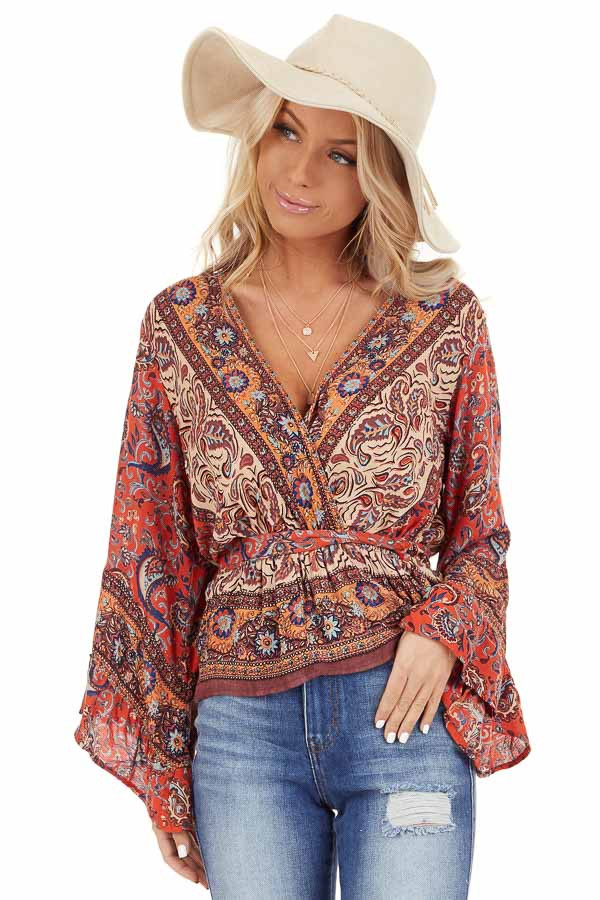 Burnt Orange Floral Print Surplice Top with Ruffle Details front close up
