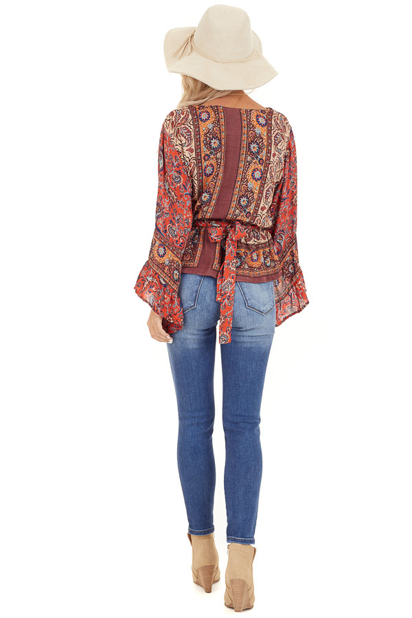 Burnt Orange Floral Print Surplice Top with Ruffle Details back full body